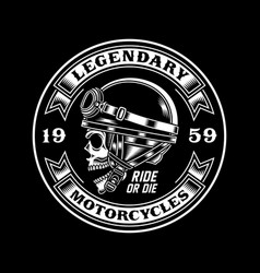 vintage biker skull emblem on black vector image