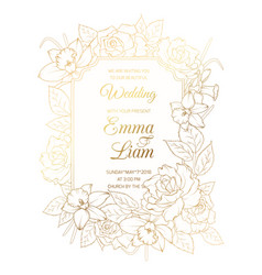 wedding invitation template rose peony narcissus vector image