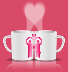 White cups with loving couple making heart shape vector image