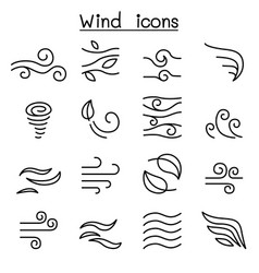 Wind icon set in thin line style vector