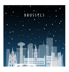 winter night in brussels night city in flat style vector image