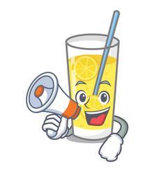 With megaphone lemonade character cartoon style vector