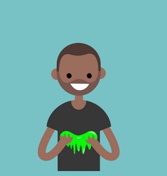 Young black character playing with a slime flat vector