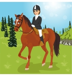 Young woman sitting on a horse outdoors vector