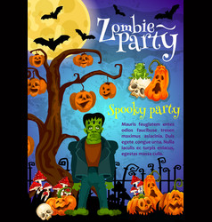 Zombie party banner for halloween holiday design vector