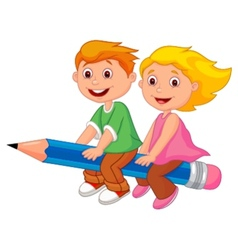 Cartoon boy and girl flying on a pencil vector image vector image