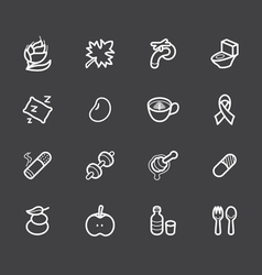 healthy element white icon set 2 on black backgrou vector image