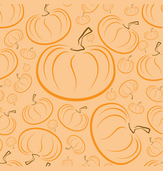 outline pumpkins seamless pattern pumpkin vector image vector image