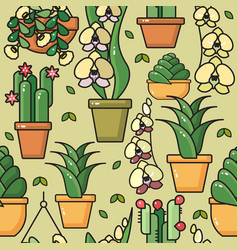 seamless pattern of house plants in cerami vector image vector image