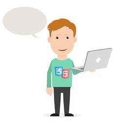 Young man staying with a laptop found a solution vector image