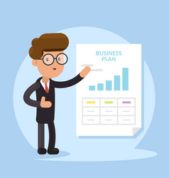 businessman and business plan document vector image vector image