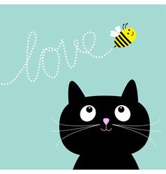 Cute cartoon cat bee dash line love flat design vector