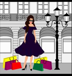 fashion girl at shopping vector image vector image