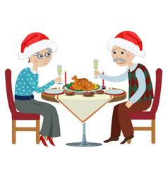 happy cartoon grandparents at a festive table vector image