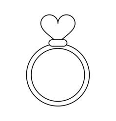 romance rings love heart wedding symbol outline vector image vector image