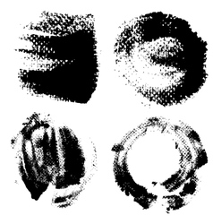 Round textured prints with paint on paper set 3 vector image vector image