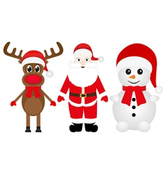 Santa Claus a reindeer and a snowman vector image