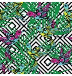 Seamless exotic pattern with colibri and palm vector image vector image