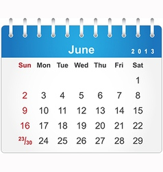 Stylish calendar page for June 2013 vector image vector image