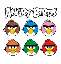 angry birds graphic set vector image vector image