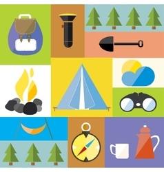 Cartoon Camp Design Nature Outdoor Boho Icon Set vector image vector image