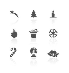 christmas icon set with reflection on a white vector image vector image