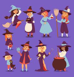 cute little witch hag harridan vixen with broom vector image
