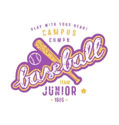 emblem of baseball junior team vector image vector image