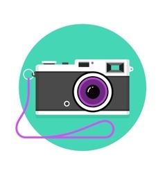 Icon of vintage photo camera Black and white vector image