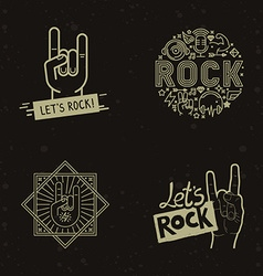 set of rock and roll badges vector image vector image