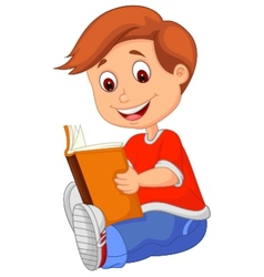 Young boy cartoon reading book vector image vector image