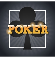 Clover of poker inside frame design vector image
