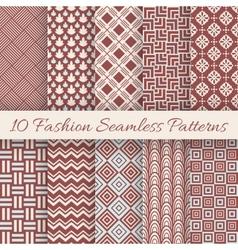 Fashion marsala color seamless pattern set vector image