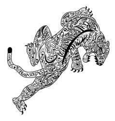 Hand draw of Tiger in zentangle style vector image