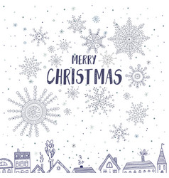 merry christmas card with houses in city vector image vector image