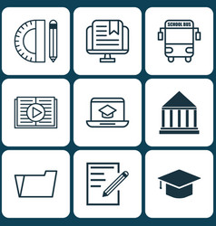 set of 9 education icons includes transport vector image