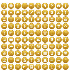 100 war crimes icons set gold vector