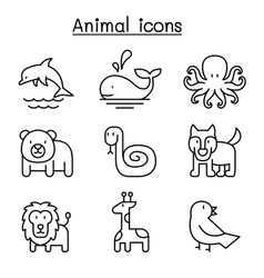 Animal icon set in thin line style vector