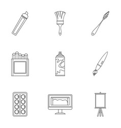 art instruments icons set outline style vector image