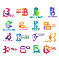 b letter corporate identity business icons vector image