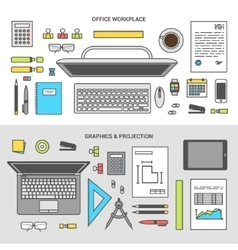 Banner set concept office objects top view vector