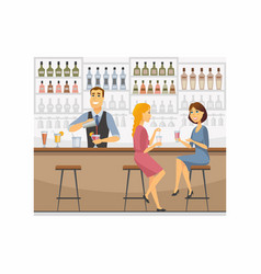 bartender at work - cartoon people characters vector image