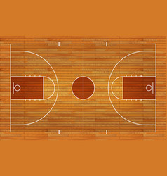 basketball court floor with line on wood texture vector image