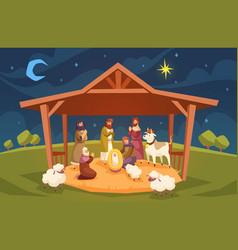 bible scene christmas christian composition vector image