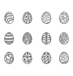 black easter egg outline vector image