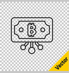 black line cryptocurrency bitcoin in circle vector image