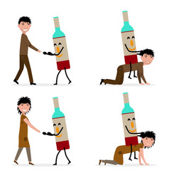 Bottle alcohol enslaves a man and a woman vector