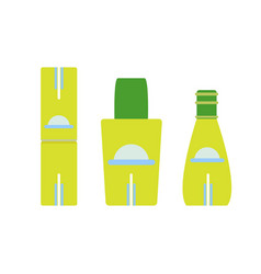 bottle set cosmetic icon isolated glass design vector image