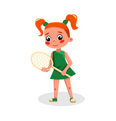 Boy playing tennis or badminton kid playing vector
