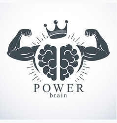 Brain with strong bicep hands bodybuilder vector